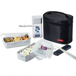 microwavable airtight bento lunch box set bpa free water bottle black. Black Bedroom Furniture Sets. Home Design Ideas