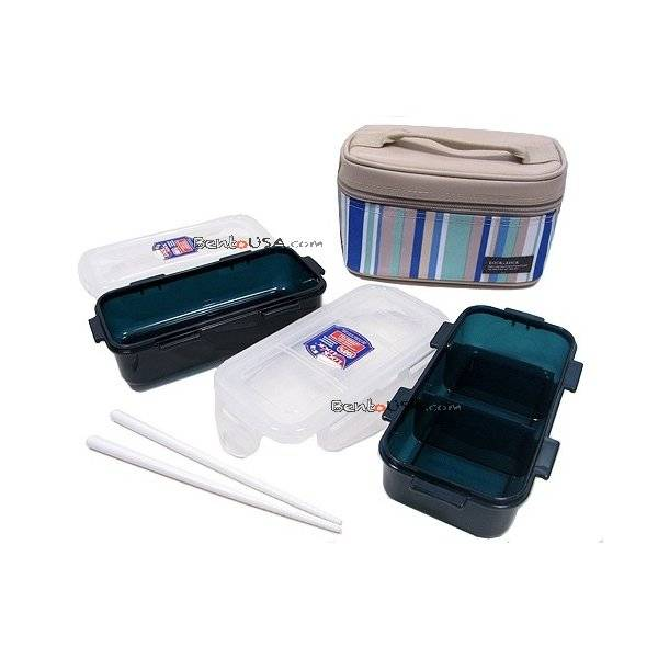 microwavable airtight bento lunch box set blue green all. Black Bedroom Furniture Sets. Home Design Ideas