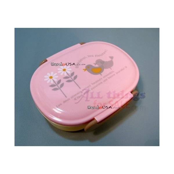 japanese microwavable bento box lunch box pink bird. Black Bedroom Furniture Sets. Home Design Ideas
