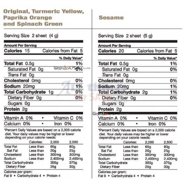 soy wrappers nutrition facts