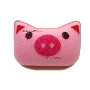 Japanese Kitchen Cute Animal Face Sponge Pink Pig