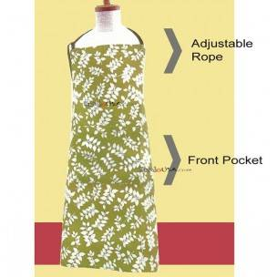 Japanese Kitchen Cute Apron with Front Pocket Yellow Brown