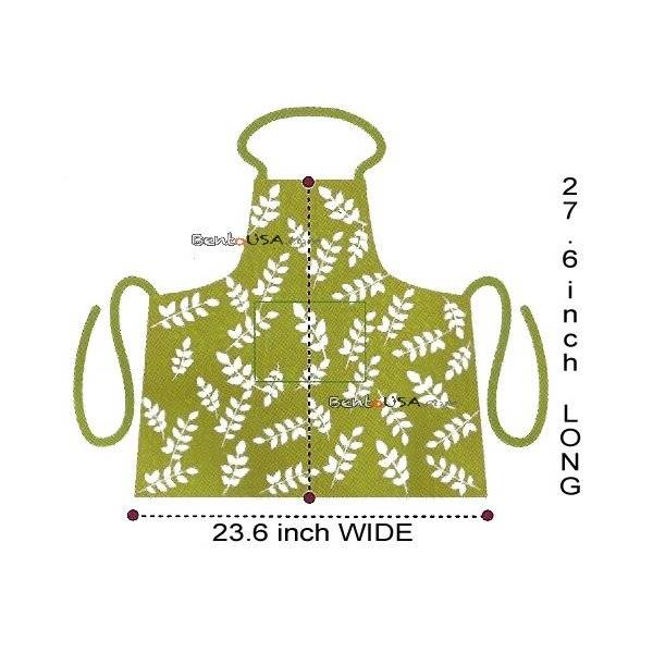 Japanese Kitchen Cute Apron with Front Pocket Yellow Brown Leave