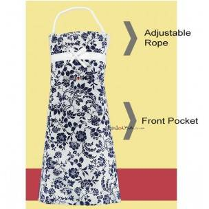 Japanese Kitchen Cute Apron with Front Pocket Blue