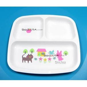 Microwavable Cute Lunch Plate Dish for Kids - 3 Sections Cute Animal