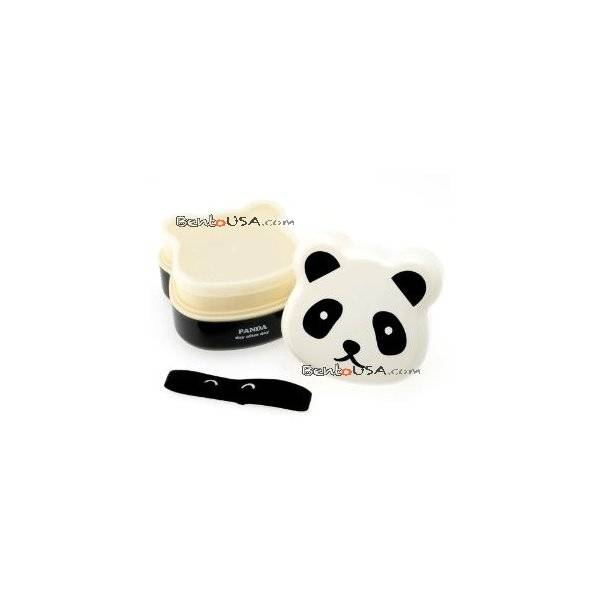 japanese bento box 2 tier lunch box with strap panda face all things for sale. Black Bedroom Furniture Sets. Home Design Ideas