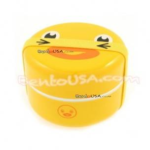 JAPANESE BENTO BOX 2 TIER LUNCH BOX WITH STRAP Round FACE