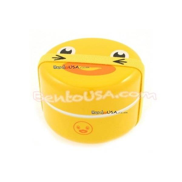 japanese bento box 2 tier lunch box with strap duck face round all things for sale. Black Bedroom Furniture Sets. Home Design Ideas