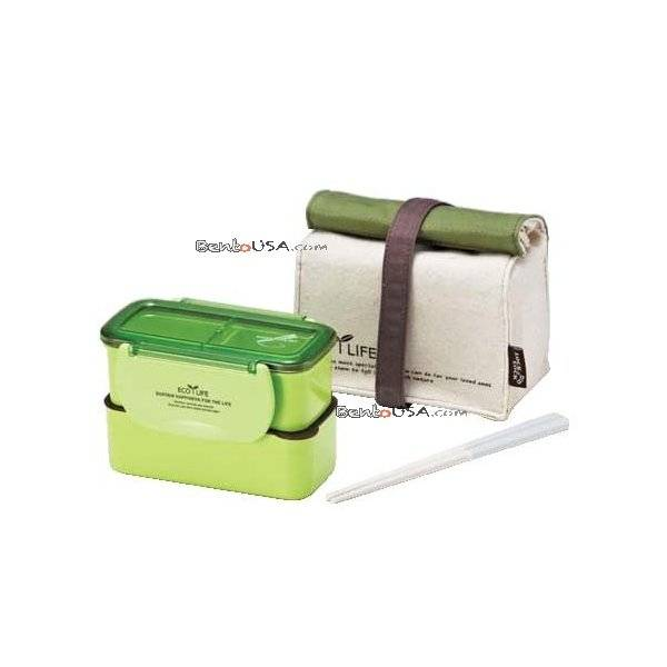 microwavable 2 tier bento lunch box set with lunch bag chopsticks mini series green all. Black Bedroom Furniture Sets. Home Design Ideas