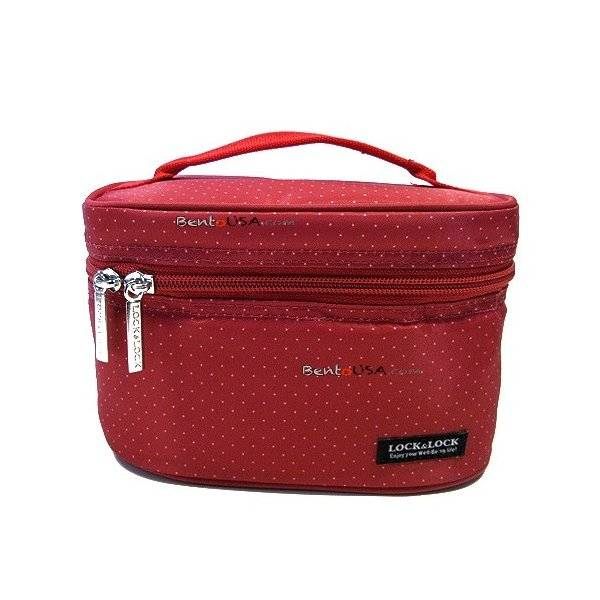 microwavable airtight bento lunch box set with spoon fork and insulated bag red all things. Black Bedroom Furniture Sets. Home Design Ideas