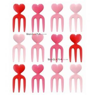 Japanese Bento Box Accessory Heart Fork Food Pick 12 Pcs