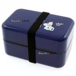 Microwavable Japanese Bento Box Lunch Box BluePurple Lucky Cat