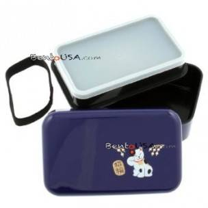 Microwavable Japanese Bento Box Lunch Box Purple Lucky Cat  2 tier