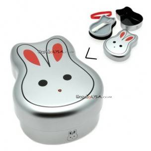 Japanese Bento Box 2 tier Lunch Box with Strap Rabbit - Tin color
