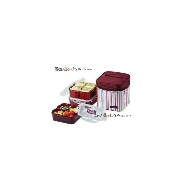 locknlock square bento lunch box 3 pcs set with insulated bag all things for sale. Black Bedroom Furniture Sets. Home Design Ideas