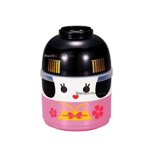 japanese bento box 2 tier lunch box kokeshi keisha set. Black Bedroom Furniture Sets. Home Design Ideas