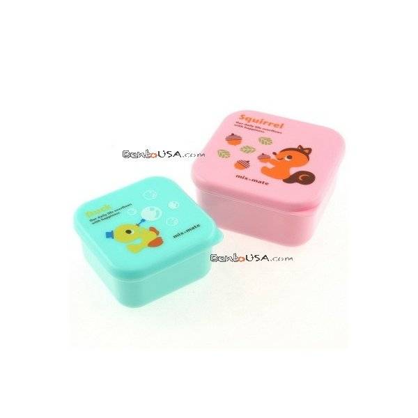 microwavable japanese bento box lunch box set of 2 mini squirrel duck all t. Black Bedroom Furniture Sets. Home Design Ideas