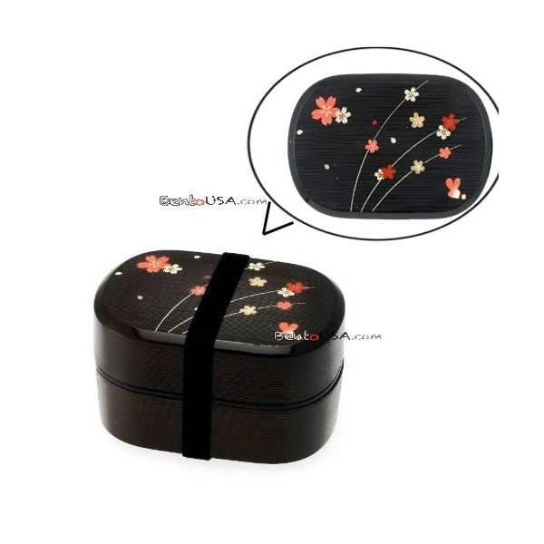 microwavable japanese bento box lunch box sakura 2 tier. Black Bedroom Furniture Sets. Home Design Ideas