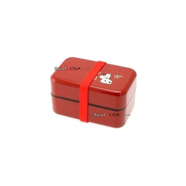 microwavable japanese bento box lunch box red lucky cat. Black Bedroom Furniture Sets. Home Design Ideas