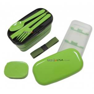 microwavable japanese bento box lunch box set with spoon fork green all things for sale. Black Bedroom Furniture Sets. Home Design Ideas