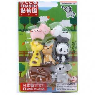 Cute Japanese Eraser Set Collectible Zoo Animals 7 pcs