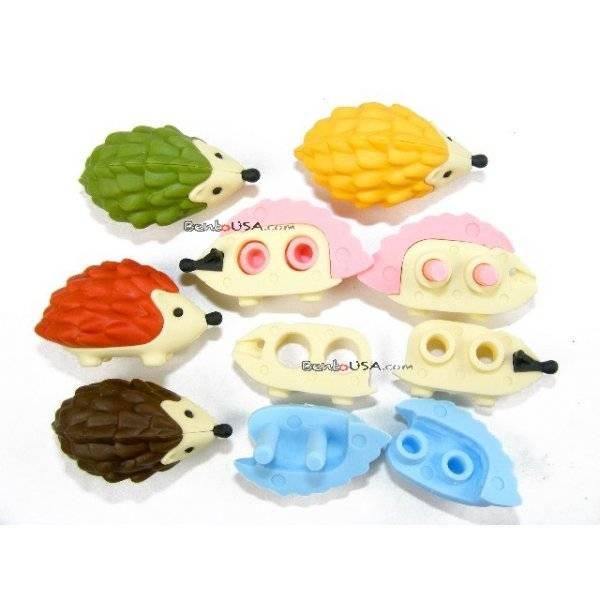 Cute japanese eraser set collectible hedgehog 6 pcs for Cute stuff for sale
