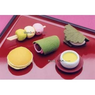Cute Japanese Eraser Set Collectible Japanese Dessert 6 pcs