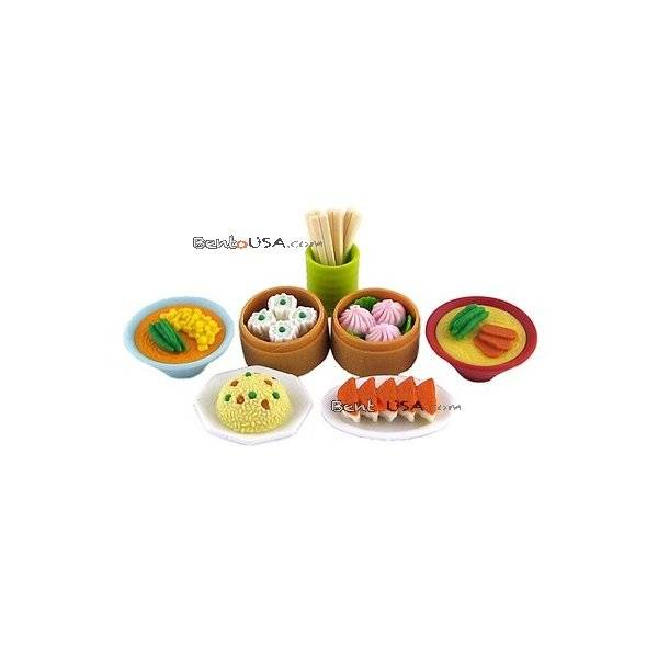 Cute japanese eraser set collectible chinese food 7 pcs for Cute stuff for sale