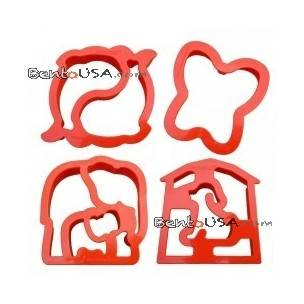 Bento decoration accessories Food Sandwich Cutter set of 4 Animal Shapes