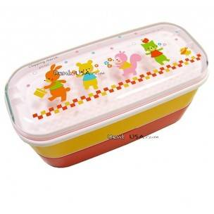 Microwavable Japanese Bento Box Red Yellow Lunch Box Animal