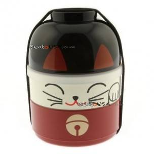 Japanese Bento Box 2 tier Lunch Box Kokeshi Set Beckoning Cat