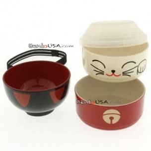 Japanese Bento Box 2 tier Lunch Box Kokeshi Set Beckoning Lucky Cat