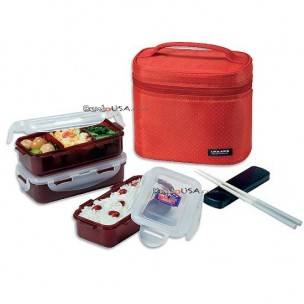Microwavable Airtight Bento Box 3 Lunch Containers 4.5 Cup - Red 