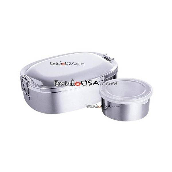 finest stainless steel bento lunch box 2 containers all things for sale. Black Bedroom Furniture Sets. Home Design Ideas
