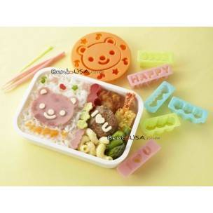 Japanese Bento Accessories Ham Cheese Cutter Set Bear and Messages