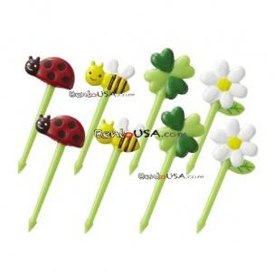 Japanese Bento Accessory 3D Food Picks Honey Bee Flower Lady bug