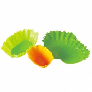 Silicone Microwavable Bento Baran and Food Cup Lettuce Leaf Wide