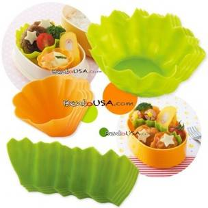 Silicone Microwavable Bento Baran and Food Cup Lettuce Leaf  12 pcs