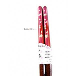 Japanese Bento Chopsticks Golden Flower Red