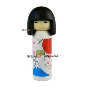 Cute Japanese Eraser Collectible Kokeshi Doll White