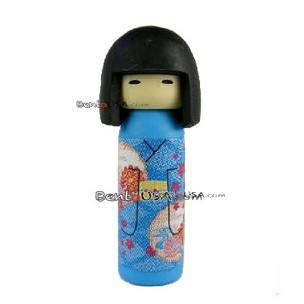 Cute Japanese Eraser Collectible Kokeshi Doll Blue