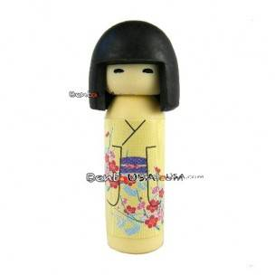 Cute Japanese Eraser Collectible Kokeshi Doll Yellow