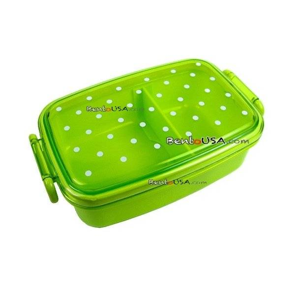 japanese microwavable 1 tier bento box lunch box polka dot green all things. Black Bedroom Furniture Sets. Home Design Ideas
