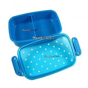 Japanese Microwavable 1 Tier Bento Box Lunch Box Polka Dot Blue 