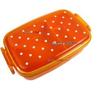 Japanese Microwavable 1 Tier Bento Box Lunch Box Polka Dot Orange