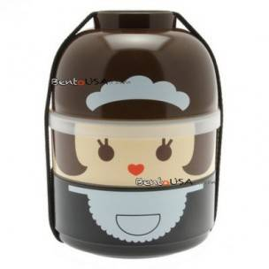 Japanese Bento Box 2 tier Lunch Box Kokeshi Set Maid