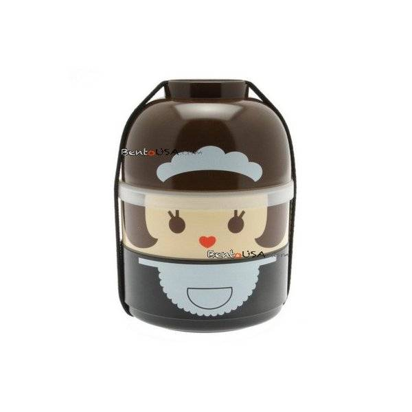 japanese bento box 2 tier lunch box kokeshi set maid. Black Bedroom Furniture Sets. Home Design Ideas