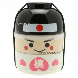 Japanese Bento Box 2 tier Lunch Box Kokeshi Set Momotaro