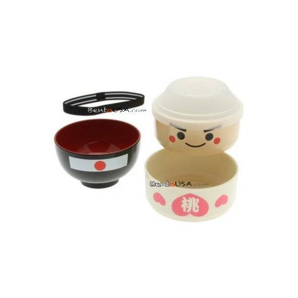 japanese bento box 2 tier lunch box kokeshi set momotaro all things for sale. Black Bedroom Furniture Sets. Home Design Ideas