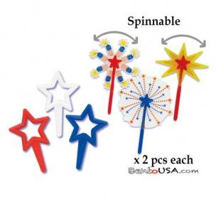 Food Decorating Pick Puffy Star Pick and Spinnable American Star 12 pcs